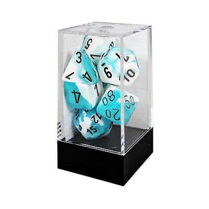 Chessex Gemini White-Teal/Black 7ct Polyhedral Set (26444)