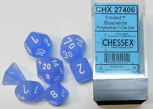 Chessex Frosted Blue/White 7ct Polyhedral Set (27406)