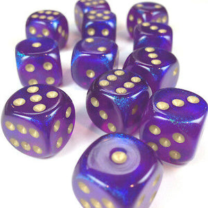 Chessex 16mm Borealis Royal Purple/Gold 12ct D6 Set (27667)