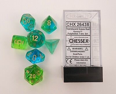 Chessex Gemini Translucent Green-Teal/Gold 7ct Polyhedral Set (26438)