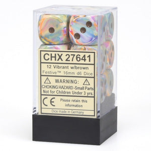 Chessex 16mm Festive Vibrant/Brown 12ct D6 Set (27641)