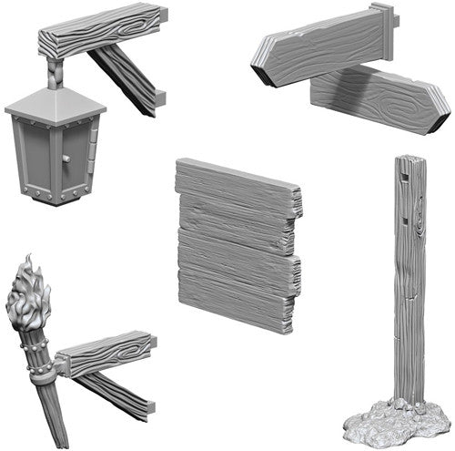 WizKids Deep Cuts Unpainted Miniatures: Signs & Lights
