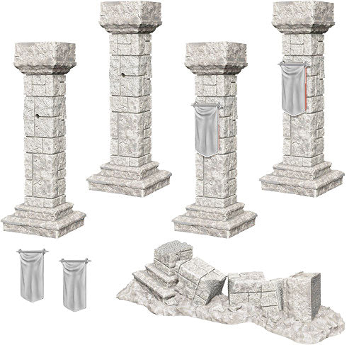 WizKids Deep Cuts Unpainted Miniatures: Pillars & Banners