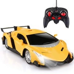 Remote Control Car, Yellow Sport Racing Car with Lights - Double Batteries