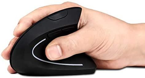 2.4G Wireless Vertical Optical Mouse - Black Right Hand