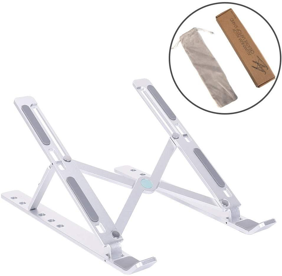 "Laptop Stand Holder - Aluminum 6-Angles Adjustable for 10-15.6"" Laptops - Silver"