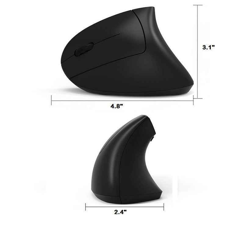 2.4G Wireless Vertical Optical Mouse - Black Left Hand