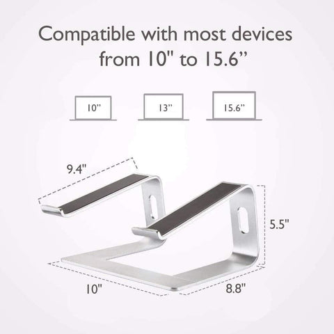 "Laptop Stand Aluminum Holder Computer Riser for 10-15.6"" Laptops - Silver"
