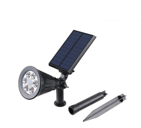 6 LED 300 LUM Waterproof Solar Powered Spotlights - 2 in 1