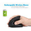 Image of 2.4G Wireless Vertical Rechargeable Mouse - Black Right Hand