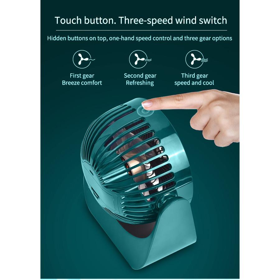 Portable Desk Fan Battery Powered 3 Cooling Speeds 360°Rotatable 5.1 Inch