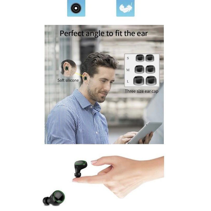 Wireless Earbuds with Wireless Charging Case IPX7 Waterproof - Black