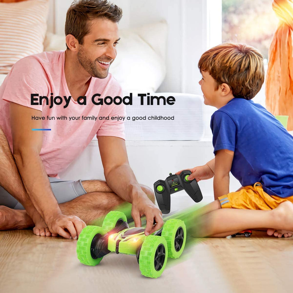 Remote Control Car, Green RC Double Sided 360° Rotating  - Double Batteries