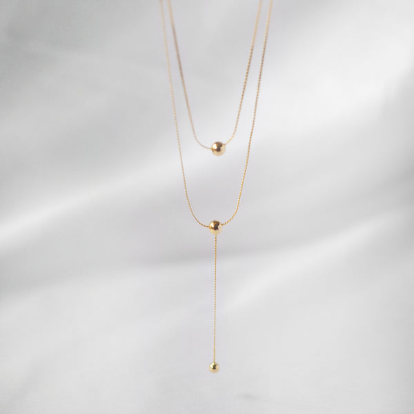 Naeva Double Chain Drop Ball Necklace