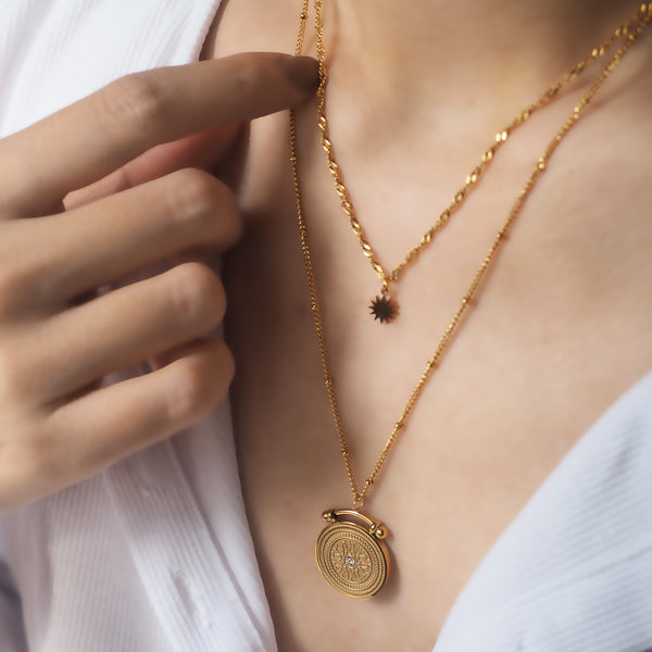 Vanna Double Chain Drop Coin Necklace
