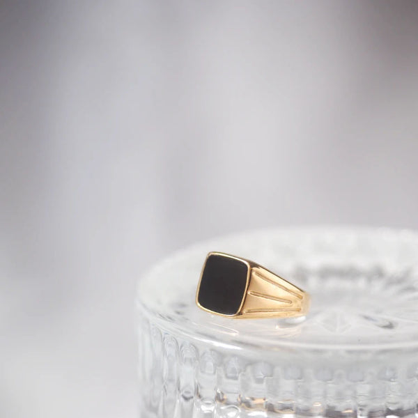 Vinga Black Bold Square Ring