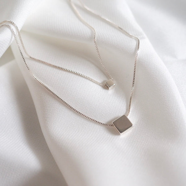 Double Square Layer Necklace