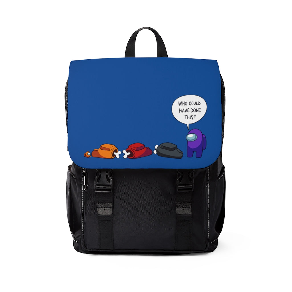 """Among Us: """"Who Could Have Done This?"""" Backpack (Blue)"""