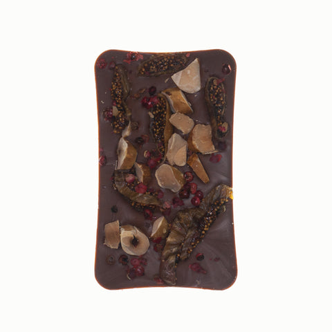 Milk Chocolate With Brazil Nuts, Dried Figs And Pink Peppercorns
