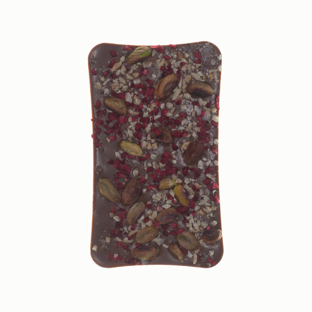 Milk Chocolate Bar With Almonds, Pistachios, Dried Raspberry And Sea Salt Bar