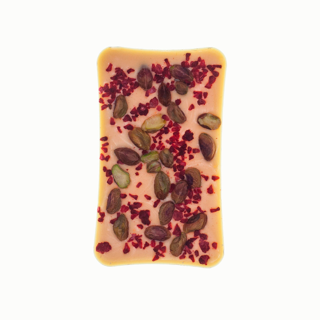 White Chocolate Bar With Pistachios And Raspberry