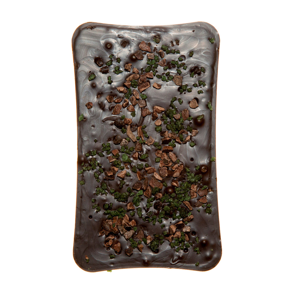 Dark Chocolate Bar With Mint And Cocoa Nibs