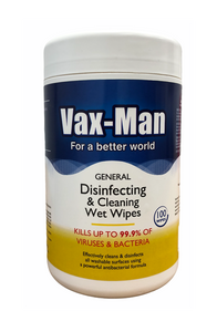VAX-MAN DISINFECTING WIPES (12 per case)- $6.95 each
