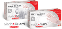 "Load image into Gallery viewer, MEDIC GUARD BY LIFEGUARD PREMIUM DISPOSABLE VINYL GLOVES -""PCR"" (Small)100/box - 10 Boxes/case  $10.62 each/$100.62 per case"