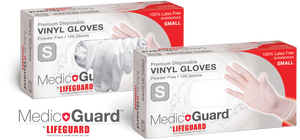 "MEDIC GUARD BY LIFEGUARD PREMIUM DISPOSABLE VINYL GLOVES -""PCR"" (Small)100/box - 10 Boxes/case  $10.62 each/$100.62 per case"