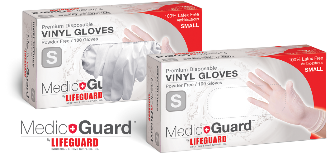 MEDIC GUARD BY LIFEGUARD PREMIUM DISPOSABLE VINYL GLOVES -