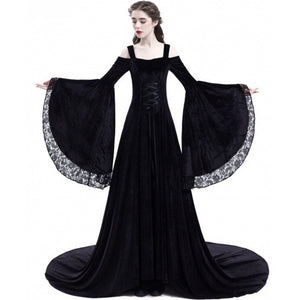 Women Party Maxi Dress Elegant Medieval Gown Green Vintage Goth Lace Flare Sleeve High Waist Plus Size Retro Black Long Dresses