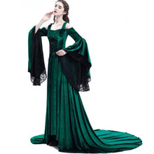 Load image into Gallery viewer, Women Party Maxi Dress Elegant Medieval Gown Green Vintage Goth Lace Flare Sleeve High Waist Plus Size Retro Black Long Dresses