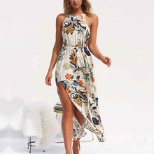 Load image into Gallery viewer, NEDEINS Women V Neck Split Dress Floral Print Long  Summer Spaghetti Strap Party Pink Chiffon Elegant Casual Maxi Dresses Beach