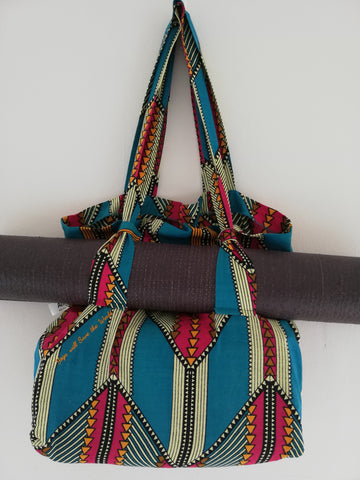 Shweshwe Tote Bag with mat holder straps