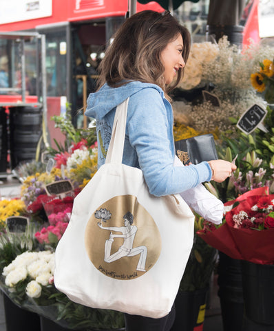 Golden Lotus Oversized Tote