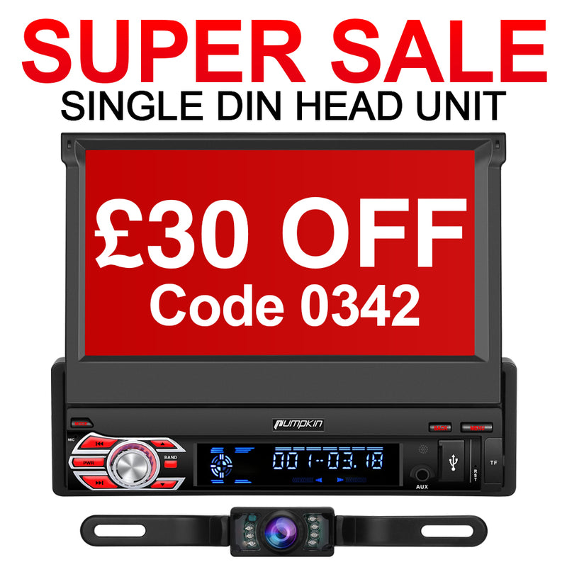 £30 Off Pumpkin 7 Inch Android 10 Single Din Touch Screen Head Unit with Backup Camera