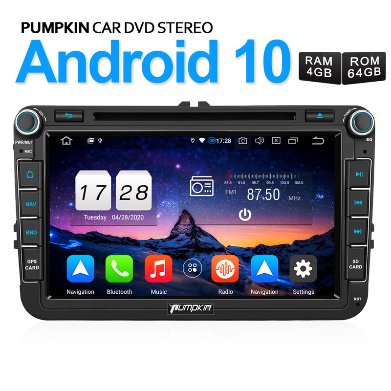 "Pumpkin VW Android 10 Car Stereo Upgrade 8"" Octa-Core for VW, Seat, Skoda"