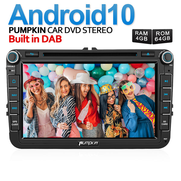 Pumpkin Android 10 VW In Dash Sat Nav 8 Inch Touch Screen Head Unit Built-in DAB
