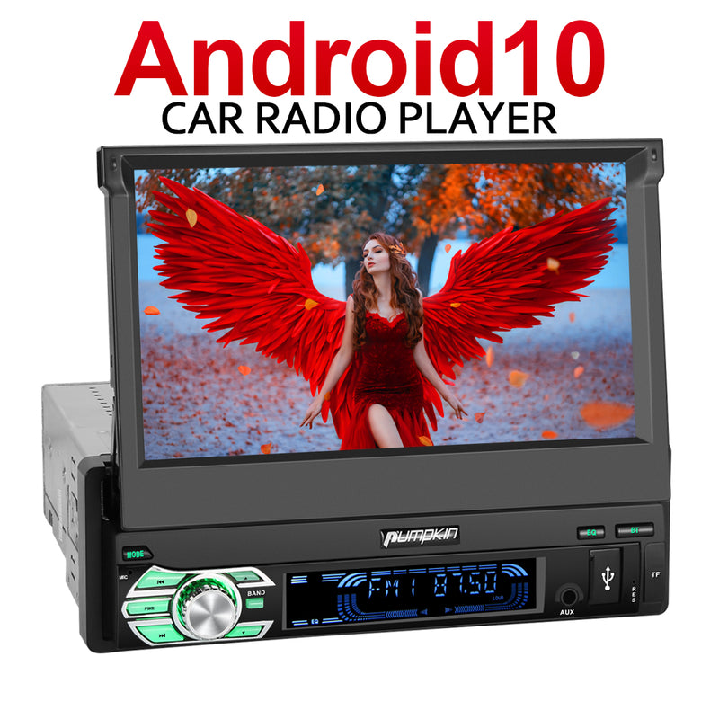"Pumpkin 7"" Android 10 Single Din Flip Out Touch Screen Head Unit with Sat Nav Bluetooth(2GB+32GB)"