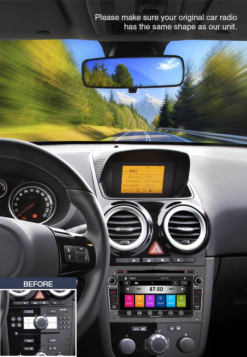 <strong>Applicable Models:</strong> <br>The following car models and years are for reference, please make sure your original car radio has the same shape as our unit.<br>Opel/Vauxhall Corsa(2006-2011)<br>Vectra(2005-2008) Antara(2006-2011)<br>Meriva(2006-2008) Astra(2004-2009)<br>Vivaro(2006-2010) Zafira(2005-2010)