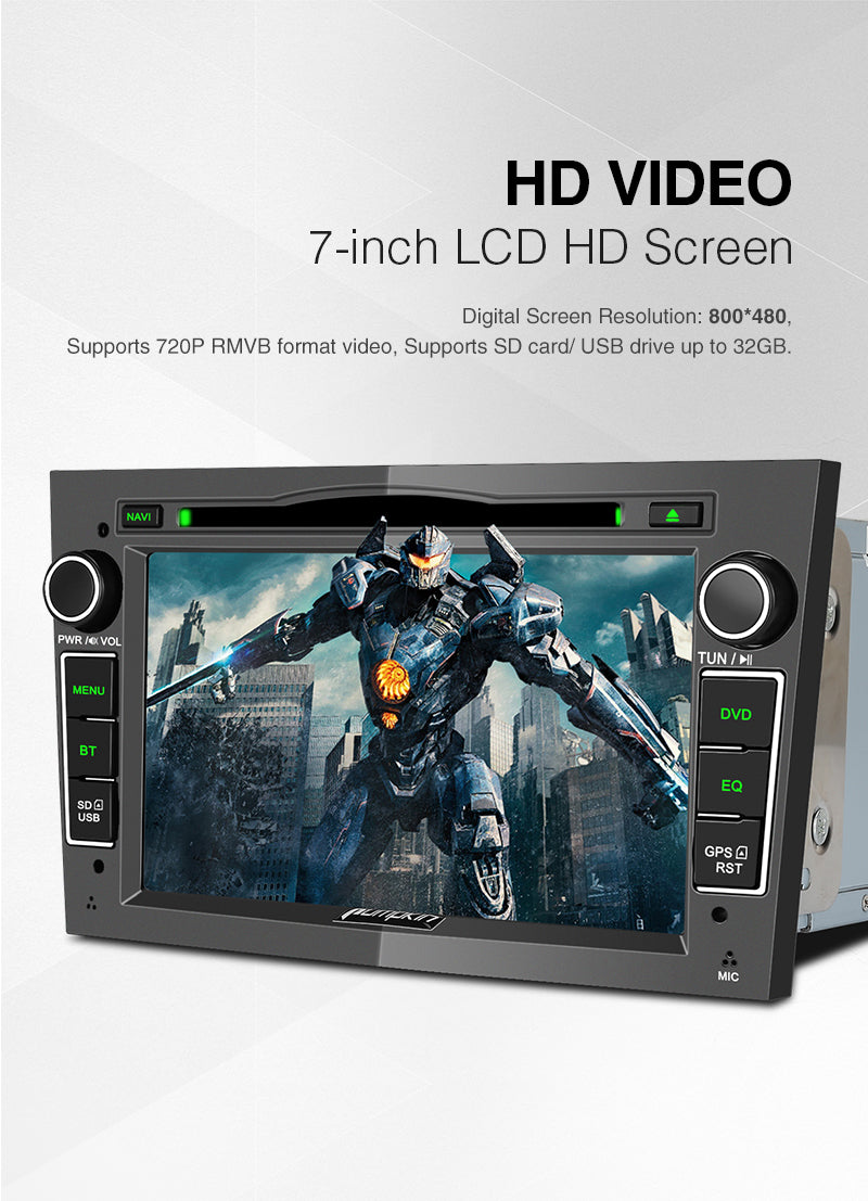 <strong>Screen:</strong><br>Screen Size: 7-Inch Digital Screen<br>Resolution: 800*480 , Supports 720P RMVB format video<br>Resistive Touch Screen