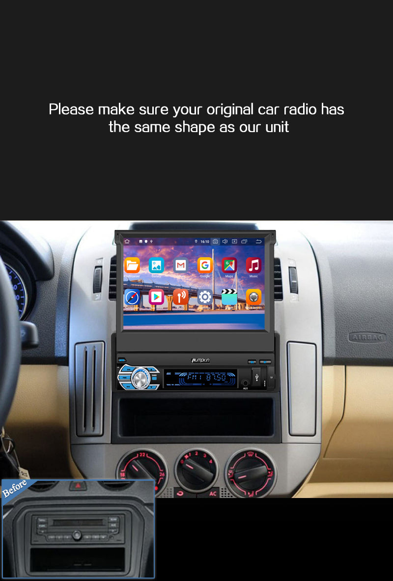 pumpkin single din android 10 car stereo