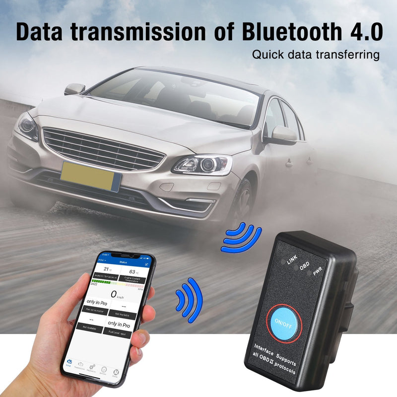 Enhanced Professional Bluetooth OBD Car Scanner Auto Code Reader for iPhone, iPad & Android