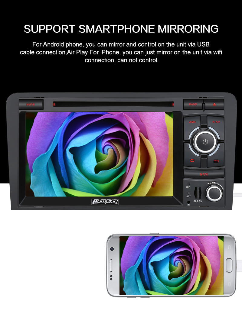 "Pumpkin 7"" Audi A3 Radio Octa Core Android 9.0 OS with Touchscreen for Audi A3 8p Stereo Upgrade"