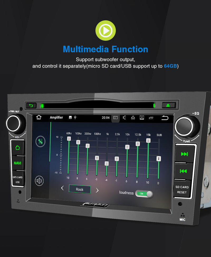 Pumpkin Opel Vauxhall Stereo 7 Inch Android 9.0 CD Player for Zafira/ Corsa D/ Astra H/ Vivaro A