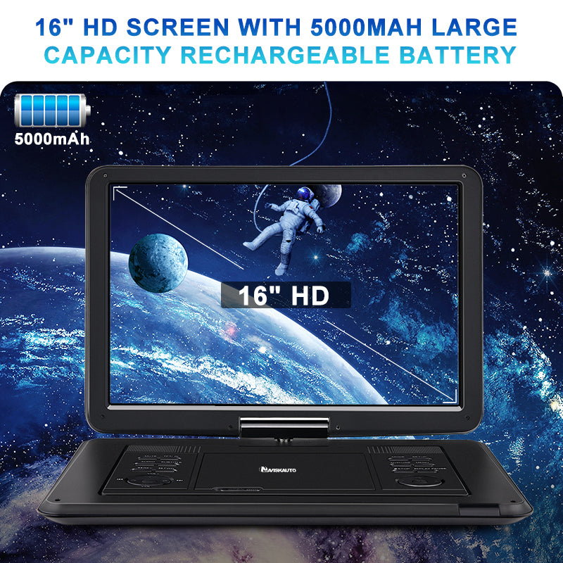 Pumpkin 16 Inch Rotatable Screen Portable DVD Player with Carry Bag and Built in 5000 mAh Battery, Support USB/SD AV IN&OUT HDMI IN