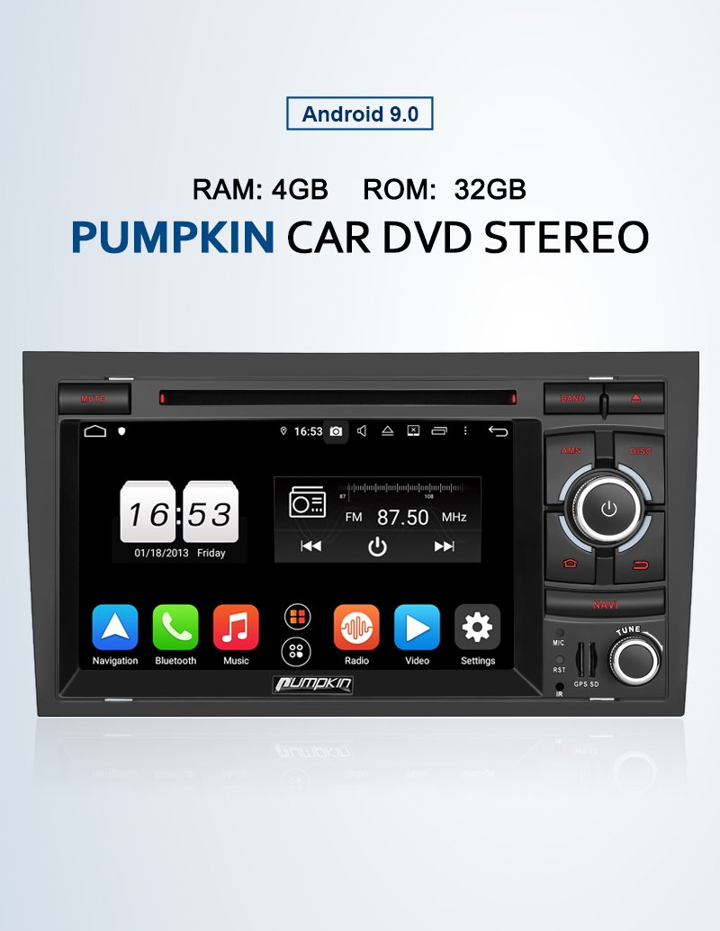 "Audi A4 b7 Stereo Upgrade with Pumpkin 7"" Touchscreen Octa Core Android 9.0 Sat Nav"