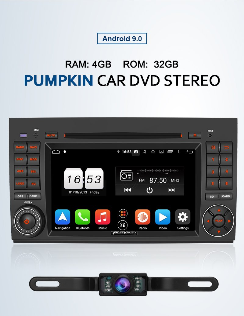 Pumpkin 7 Inch Touchscreen Android 9.0 Car Stereo for Benz Infotainment System, with Night Vision Backup Camera
