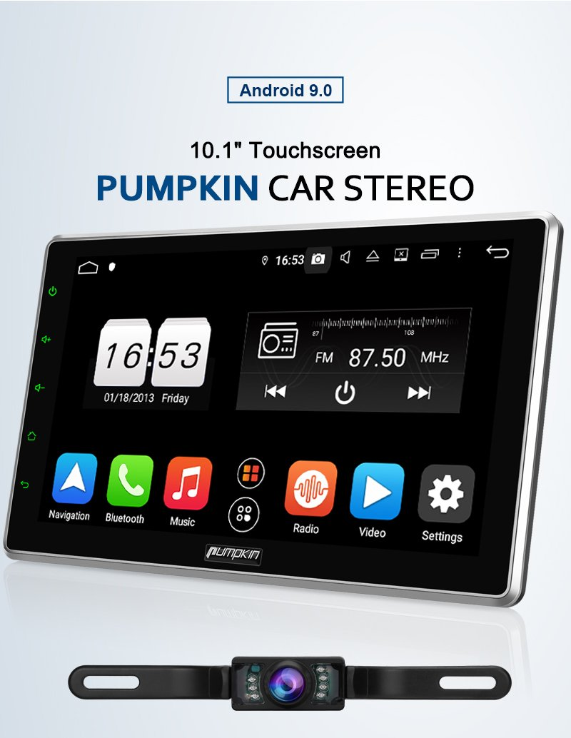 "Pumpkin 10.1"" Universal Adjustable Touch Screen Android 9.0 Car Stereo with Reverse Camera"