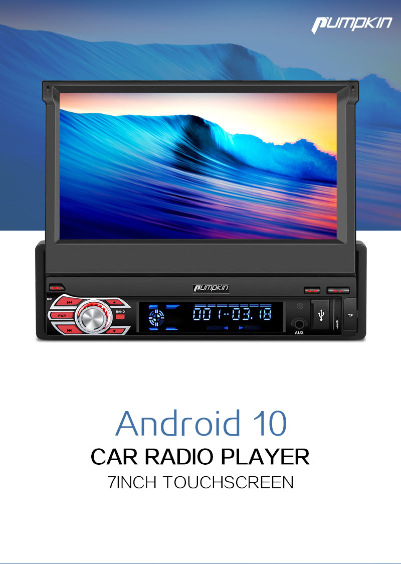 "Pumpkin 7"" Single Din Android 10 Car Stereo with Flip-out Screen Support DAB Carplay Android Auto(AA0342B)"